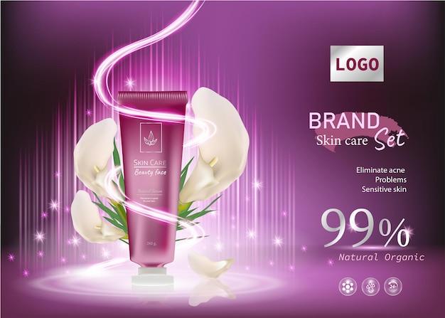 Annunci cosmetici idratanti e bottiglia per la cura della pelle sfondo rosa con effetto luce premium e fiore