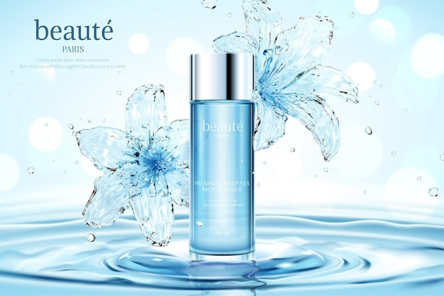 Annunci cosmetici idratanti con ninfea trasparente su increspature e sfondo bokeh glitterato