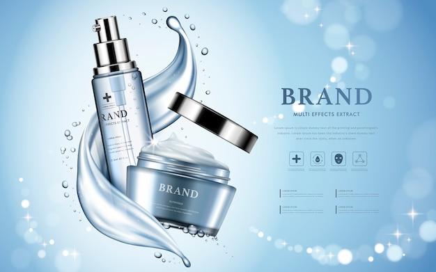 Annuncio di prodotti cosmetici idratanti con bellissimi contenitori e consistenza acquosa nell'illustrazione 3d