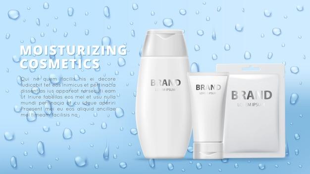 Banner di cosmetici idratanti. tubetti di crema, toppa per maschera e gocce d'acqua realistiche