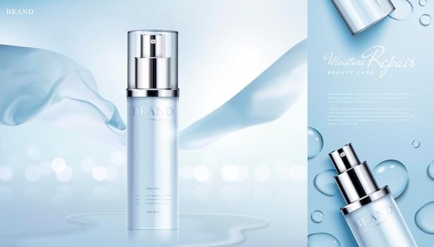 Banner di prodotti per la cura della pelle idratante con elementi in chiffon sulla superficie scintillante del bokeh in stile 3d