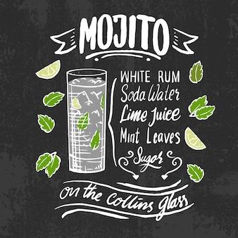 Ricetta del cocktail alcolico mojito sulla lavagna