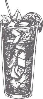 Illustrazione vettoriale disegnato a mano cocktail mojito nello stile di abbozzo