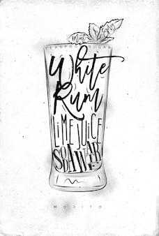 Mojito cocktail con scritte