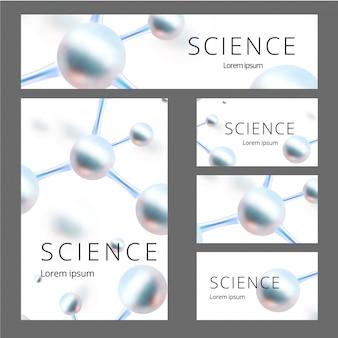 Set di identità astratta molecolare. banner, a4 bianco, biglietto da visita. illustrazione. atomi.