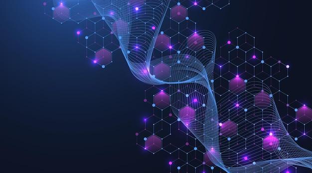 Struttura molecolare astratta e background di ingegneria genetica, assistenza sanitaria e medicina. background di ricerca scientifica. flusso d'onda, modello di innovazione. illustrazione vettoriale.