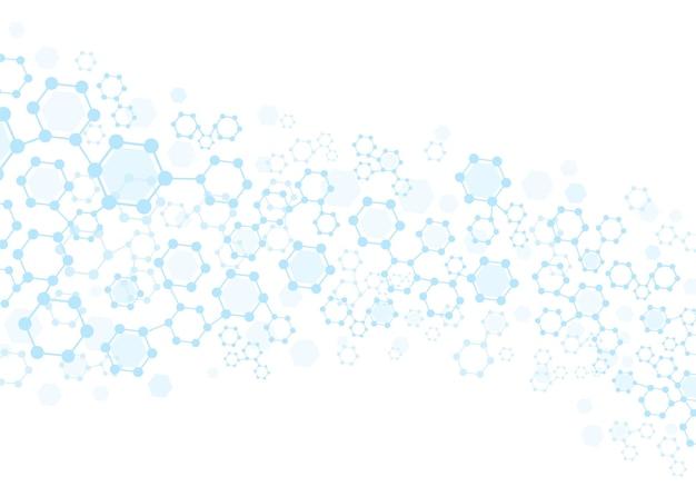 Sfondo molecolare. tecnologia struttura esagonale, linee di collegamento e carta da parati a griglia molecolare