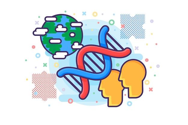 Vettore dell'icona di ricerca scientifica di biologia molecolare