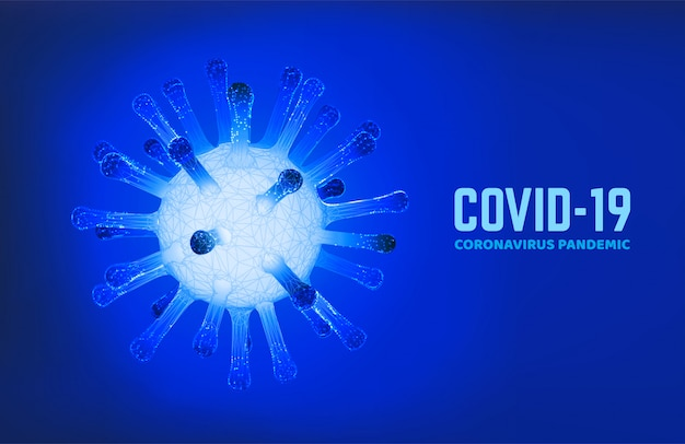 Illustrazione delle cellule di coronavirus molecolare con testo covid-19. pandemia di coronavirus