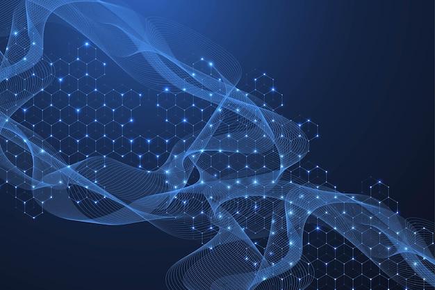 Sfondo della struttura molecolare. carta da parati o banner modello di scienza con molecole di dna. fondo astratto della molecola con gli esagoni, flusso d'onda. illustrazione vettoriale.
