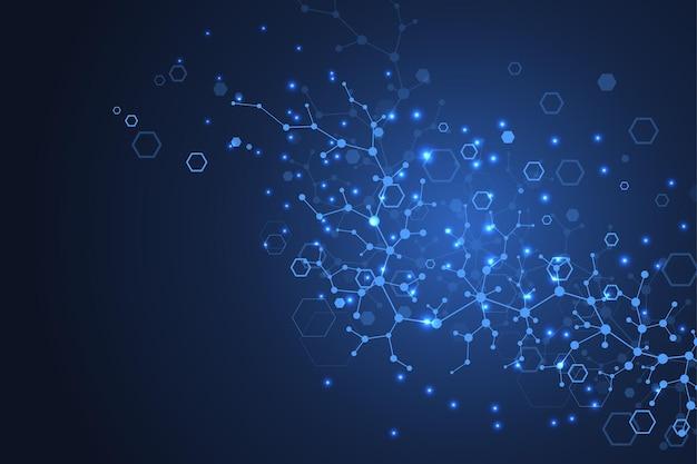 Sfondo della struttura molecolare. carta da parati o banner modello di scienza con molecole di dna. fondo scientifico astratto della molecola. flusso d'onda, modello di innovazione. illustrazione vettoriale.