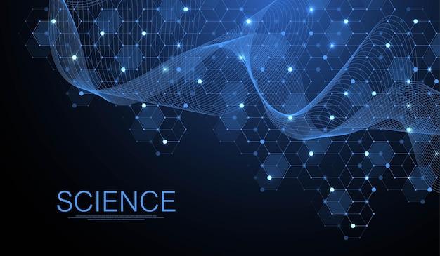 Sfondo della struttura molecolare. carta da parati o banner modello di scienza con molecole di dna.