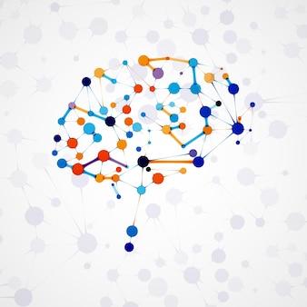 Struttura molecolare sotto forma di cervello, illustrazione futuristica