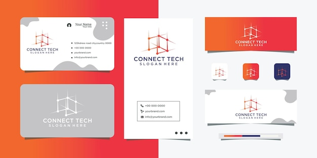 Logo di collegamento di tecnologia molecolare e design del biglietto da visita
