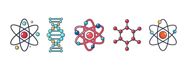 Set di icone di molecola e atomo. insieme del fumetto della raccolta delle icone di vettore dell'atomo e della molecola isolata
