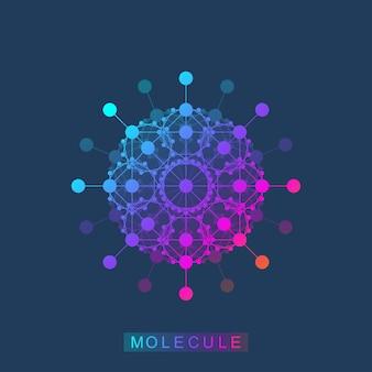 Icona del modello del logo della molecola, logotipo della genetica scientifica, elica del dna. analisi genetica, ricerca biotech codice dna, molecole. cromosoma del genoma di biotecnologia. illustrazione vettoriale