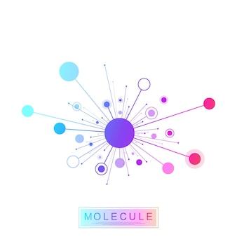 Molecola logo modello icona scienza genetica logotipo, elica del dna. analisi genetica ricerca codice biotecnologico test del dna infografica. mappa della sequenza del genoma. test genetico della struttura della molecola illustrazione vettoriale.