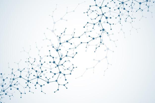 Struttura della molecola con particelle. ricerca medico scientifica. sfondo di scienza e tecnologia. concetto molecolare. illustrazione vettoriale.
