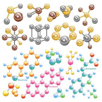 Chimica molecolare di vettore molecola o biologia e atomo