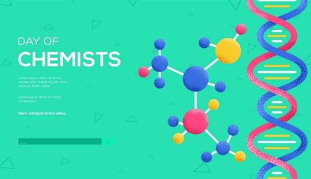 Volantino del concetto di molecole, banner web, intestazione dell'interfaccia utente, entra nel sito. consistenza del grano ed effetto rumore.