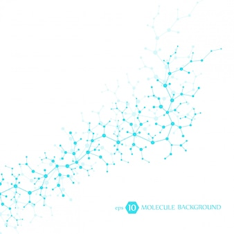 Concetto di molecole di neuroni e sistema nervoso. ricerca medica scientifica. struttura molecolare con particelle. sfondo di scienza e tecnologia per banner o volantino.