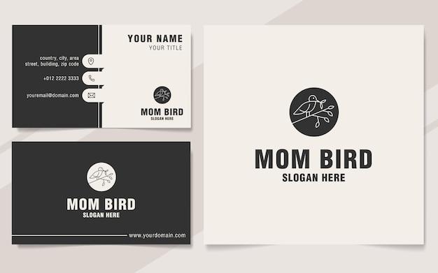 Stile monogramma del modello di logo dell'uccello della mamma