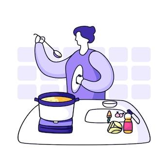 Mamma che cucina in cucina