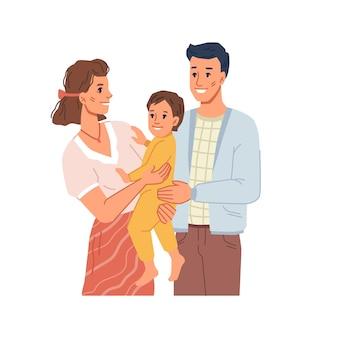 Mamma e papà che tengono il bambino piccolo sulle mani