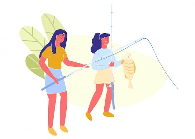 Mamma e figlia pescano pesci. illustrazione.