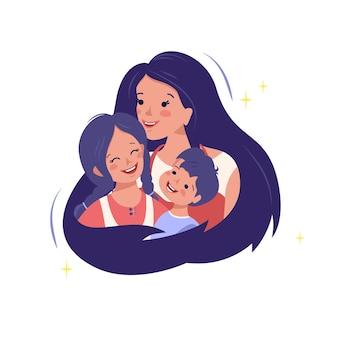 La mamma abbraccia suo figlio e sua figlia