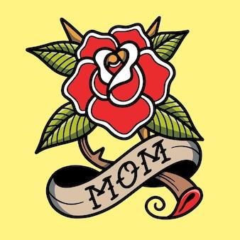 Lettera della mamma con rose old school tattoo