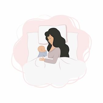 La mamma e il neonato sono sdraiati sul letto e dormono. la mamma dorme con un bambino piccolo. maternità e cura del bambino, dormire bene insieme. piatto del fumetto di vettore.
