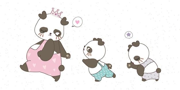 Mamma panda e due bambini in simpatici vestiti color pastello che disegnano a mano scarabocchi su sfondo bianco