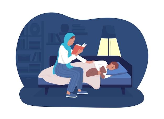 La mamma ha letto l'illustrazione isolata di vettore 2d di storia. libro di lettura della madre per il bambino che dorme. raccontare storie per bambini. personaggi piatti della famiglia felice su sfondo di cartone animato. scena colorata della routine della buonanotte