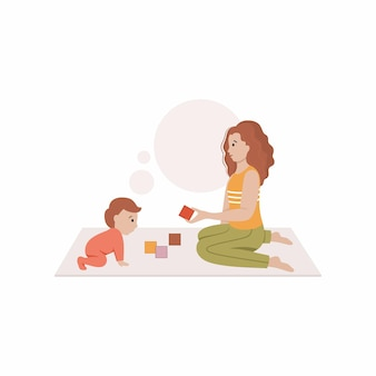 La mamma si siede sul pavimento e gioca con il bambino a blocchi. illustrazione vettoriale in stile piatto