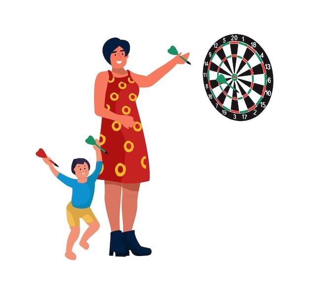 Mamma e figlio a casa. illustrazioni vettoriali la madre gioca a freccette con il bambino. il ragazzino del fumetto gioca con la donna, lancia le freccette al bersaglio
