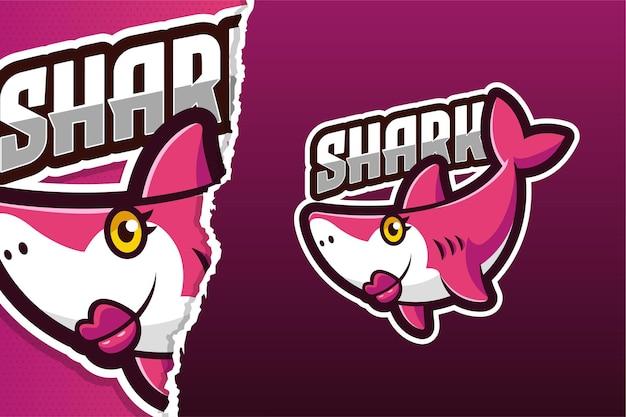 Modello di logo del gioco della mascotte del fumetto di mamma squalo