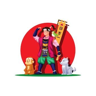 Momotaro in piedi con animali eroi giapponesi folklore fiaba concetto figura personaggio vettore