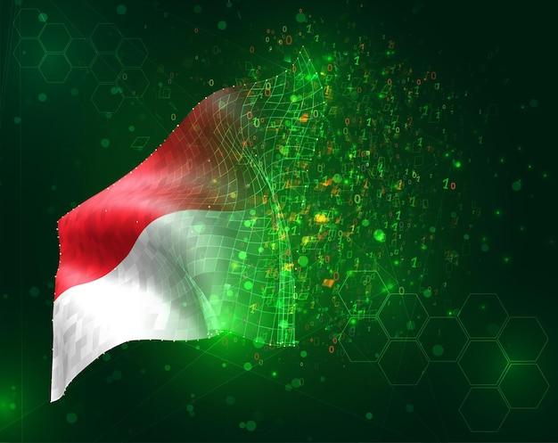 Monaco, indonesia, vettore 3d bandiera su sfondo verde con poligoni e numeri di dati