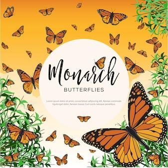 Illustrazione di farfalle monarca