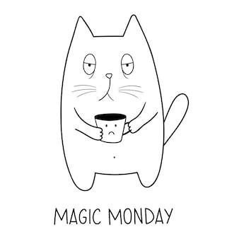 Gatto del lunedì gatto divertente con tazza da caffè adorabile animale scarabocchio stile cartone animato scarabocchio