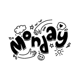 Schizzo di citazione di ispirazione doodle del lunedì