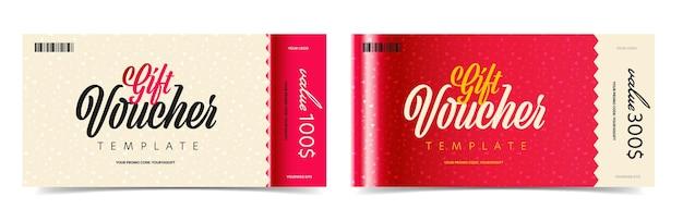 Modello di disegno di carta promozionale del buono regalo monetario.