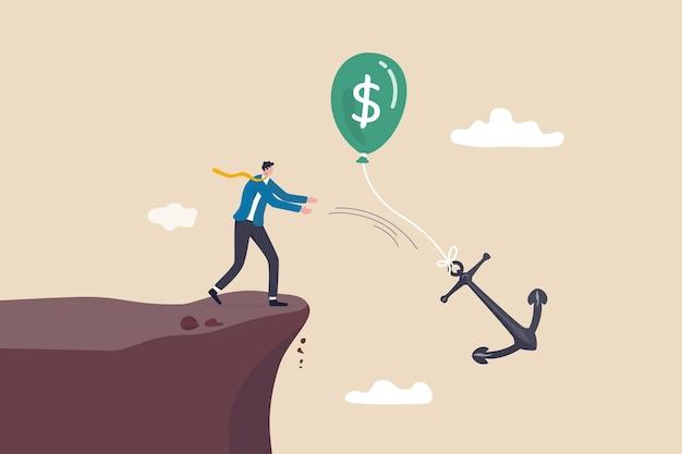 Politica monetaria per ridurre l'inflazione, mantenere bassi i costi o le spese per il profitto, metafora del controllo del tasso di interesse della fed o della banca centrale, governo dell'uomo d'affari che lancia un legame di ancoraggio con un palloncino di soldi