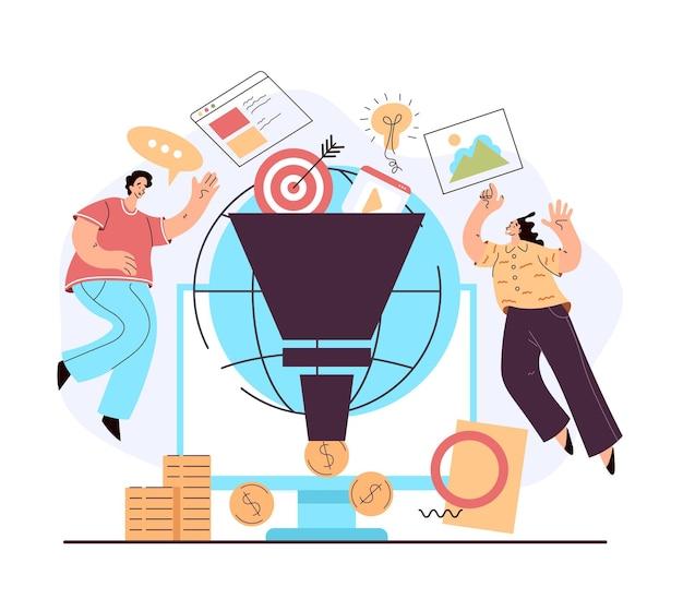 Suggerimenti per la monetizzazione sui social media, tassi di strategia e attrazione di follower e guadagni in denaro Vettore Premium