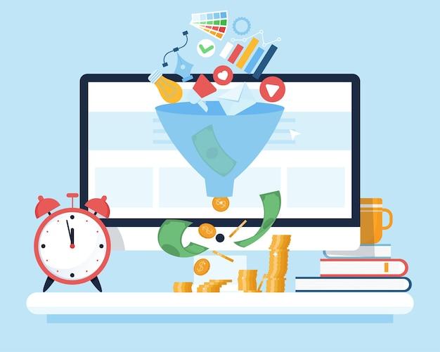 Suggerimenti per la monetizzazione analisi del funnel di vendita concetto del funnel di acquisto strategie smm