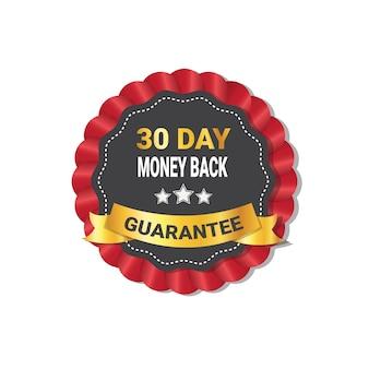 Soldi indietro nel distintivo di garanzia di 30 giorni isolato