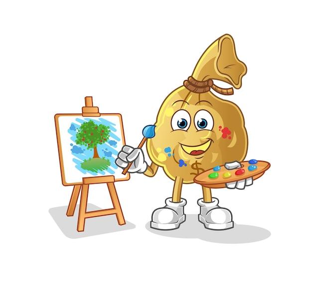 La mascotte del personaggio dell'artista della borsa dei soldi