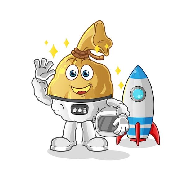 L'astronauta della borsa dei soldi che ondeggia la mascotte del carattere