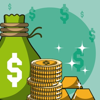 La borsa e le monete dei soldi con le barre d'oro vector la progettazione grafica dell'illustrazione